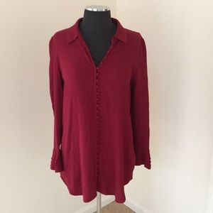 Soft surroundings small red button down blouse